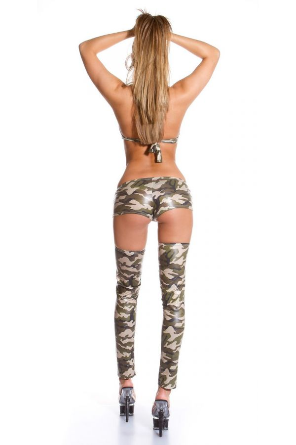 SHORTS SEXY GOGO ZIP WETLOOK CAMOUFLAGE ISDHO555