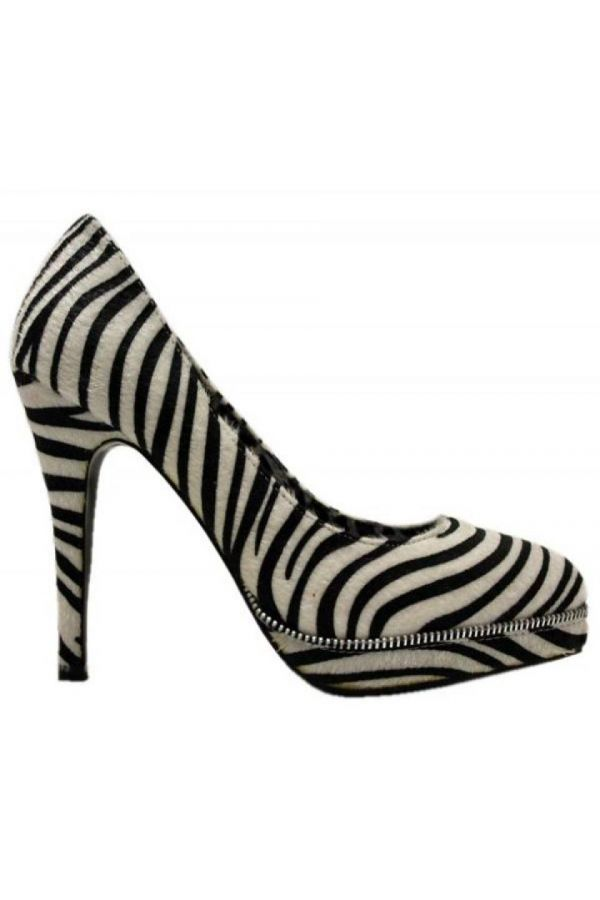 SP033 PUMP SUEDE BLACK WHITE