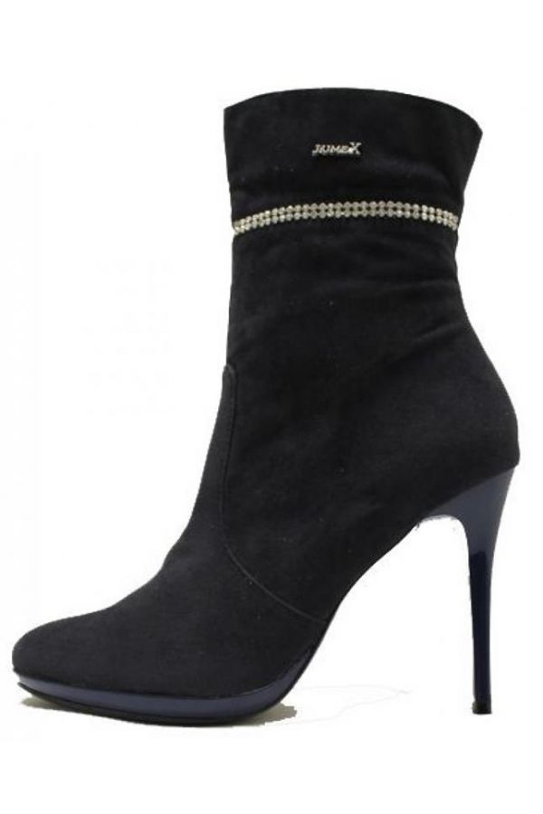 suede ankle boot decorated with strass blue