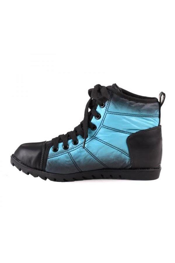 sneaker παπούτσι μποτάκι με κορδόνια τρακτερωτή σόλα μαύρο μπλε