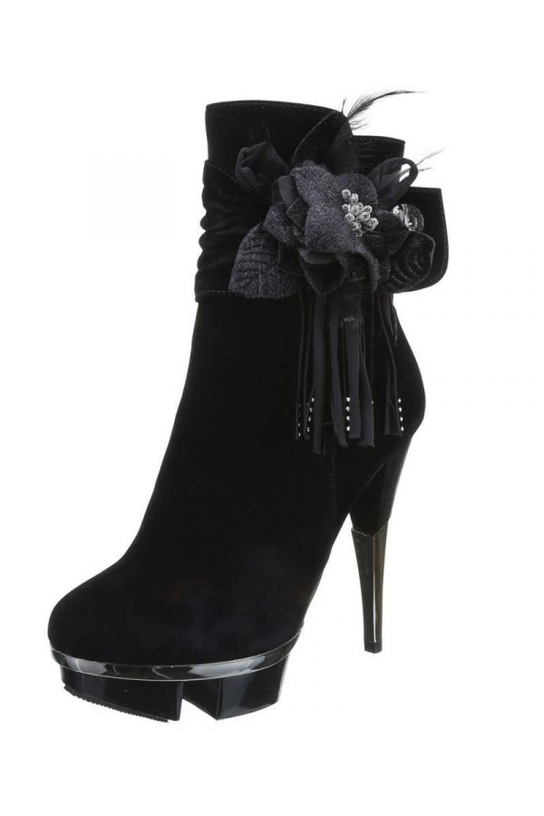 high heels suede ankle boot decorated with feathers and strass silver heel black