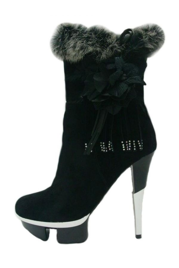 μποτάκι high heels διακόσμηση μαύρο.