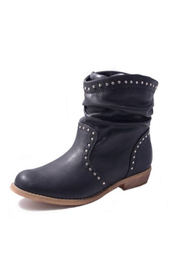 rock ankle boot decorated with silver metallic studs wooden sole black