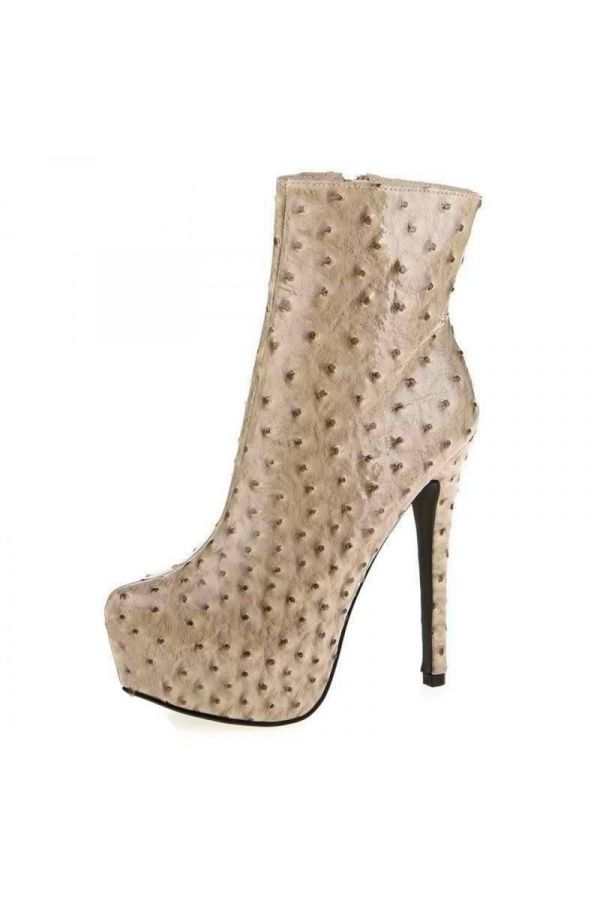high heels patent ankle boot with embossed design beige