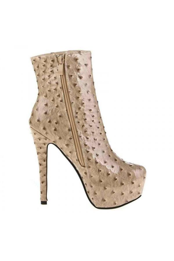 SP153 ANKLE BOOT HIGH HEELS BEIGE
