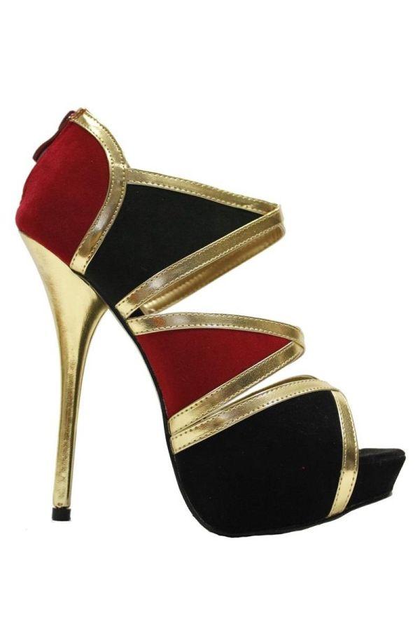 stylish high heel suede sandal with platform golden panels black red