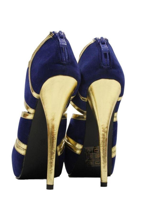 stylish high heel suede sandal with platform golden panels and heel blue