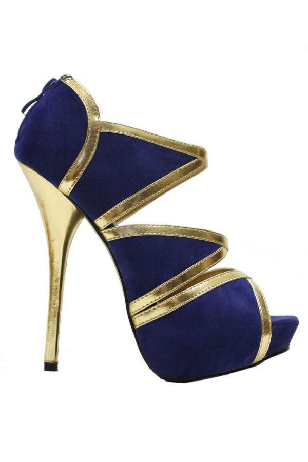 SP183 SANDAL SUEDE BLUE GOLD