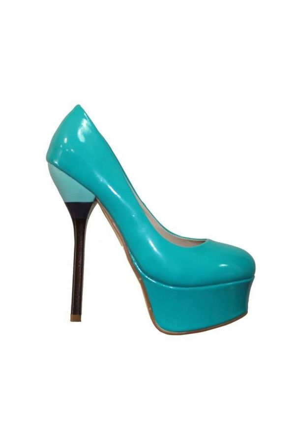 SP2179 PUMP HIGH HEEL PATENT TURQUOISE