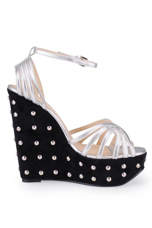 SP336576 SANDAL SPIKES BLACK SILVER