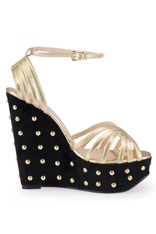 SP336576 SANDAL SPIKES BLACK GOLD