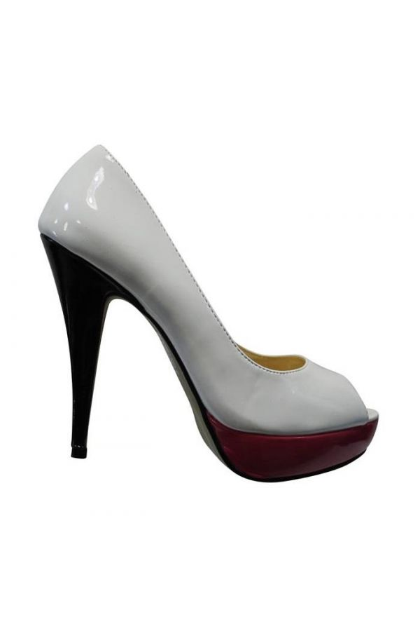 patent peep toe pump with black heel and fuchsia platform white
