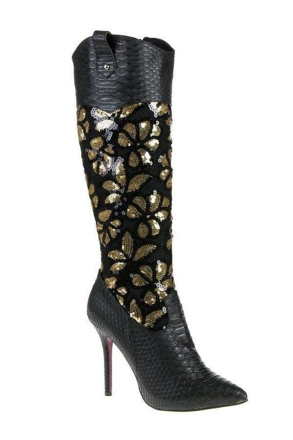 snake design exclusive women boot decorated with golden sequins black