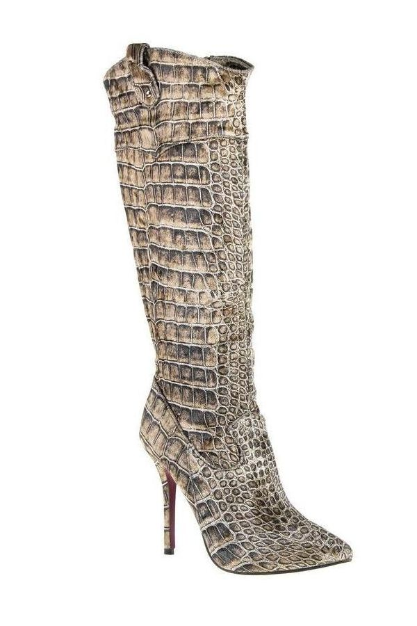 exclusive boot at snake design beige