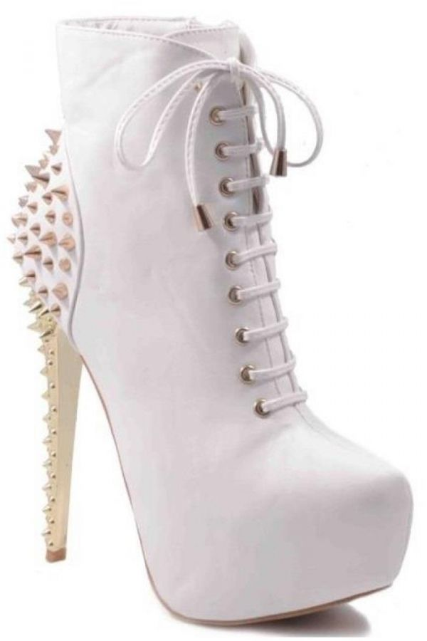 exclusive high heels ankle boot with cords decorated with gold studs white