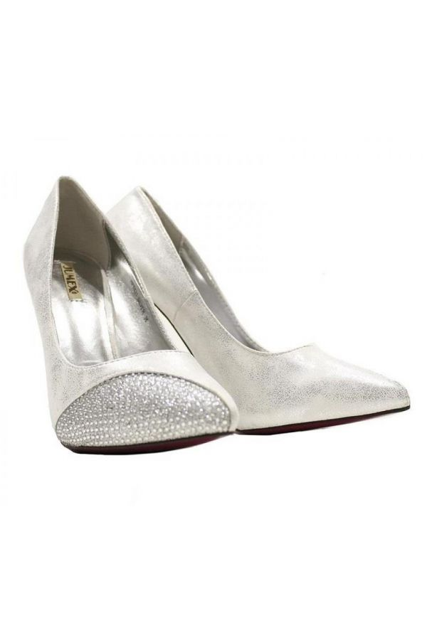 pointed formal pump with satin pane decorated with strass silver