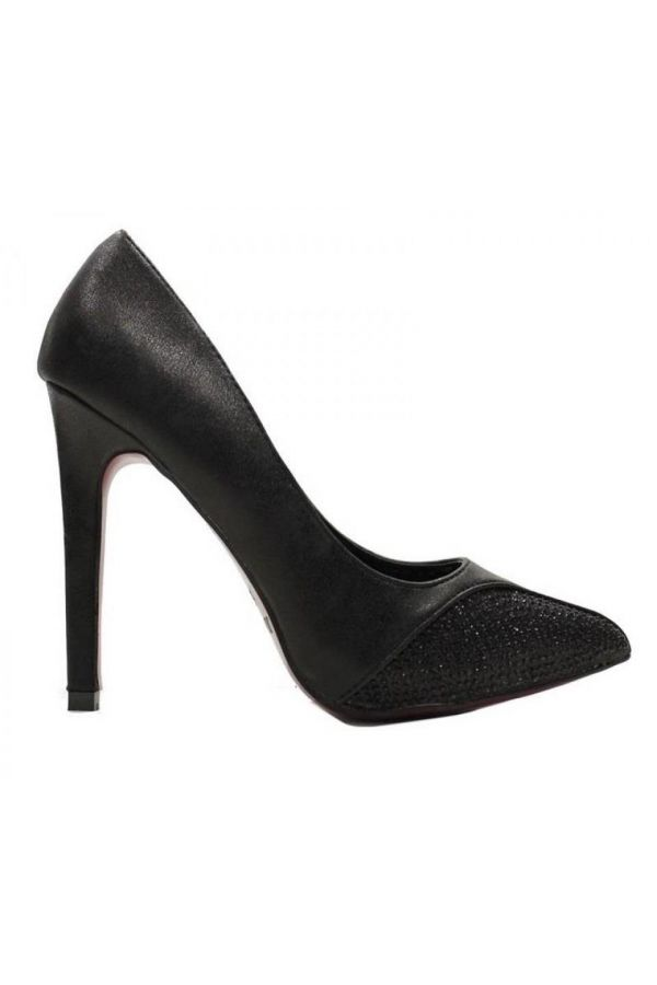 pointed formal pump with satin pane decorated with strass black