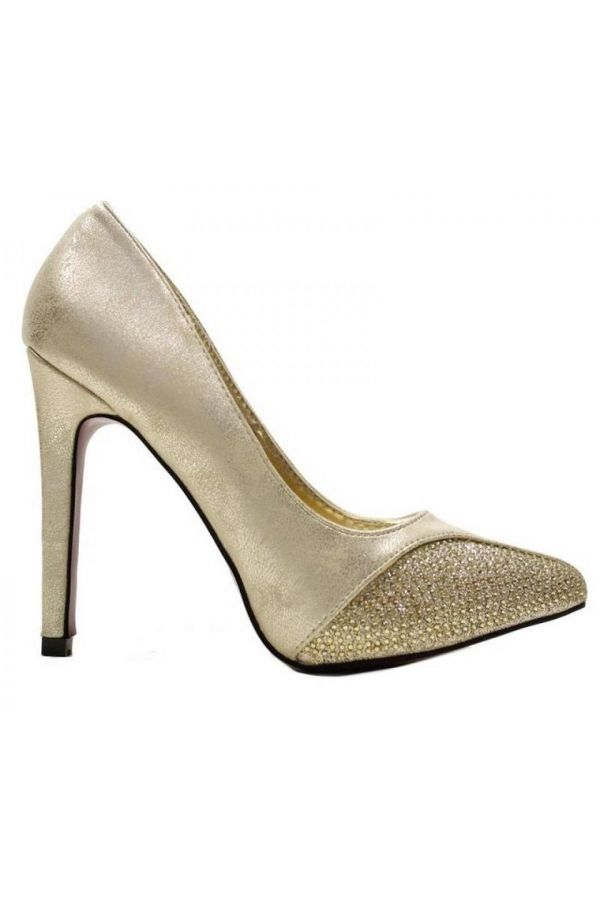 pointed formal pump with satin pane decorated with strass gold