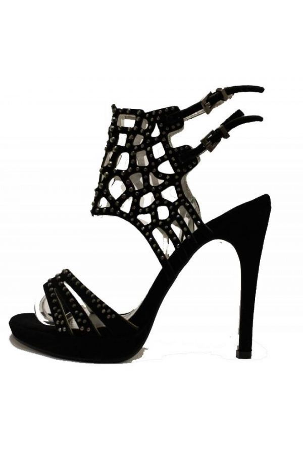 formal suede sandals decorated with rhinestones black