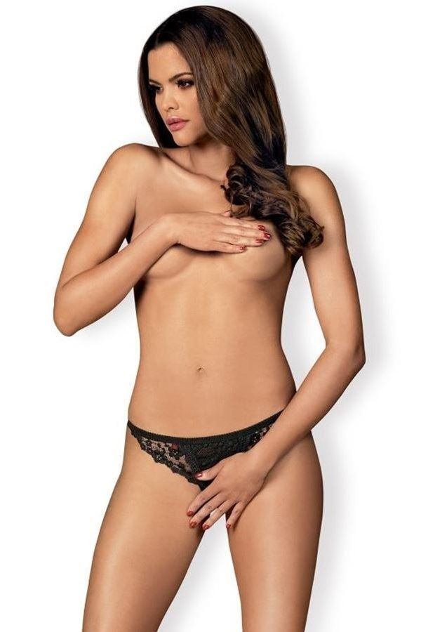 THONG BRIEF LINGERIE OPEN LACE BLACK DRED221871