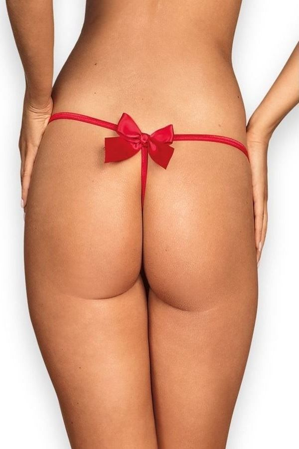 THONG CORD BRIEF BOW RED DRED221917