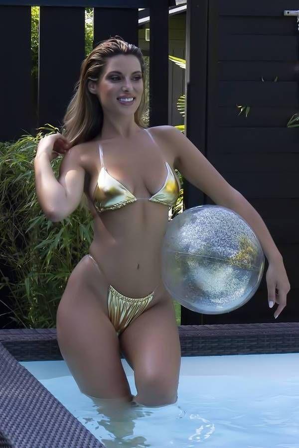 bikini swimsuit string silicone cords metallic gold.