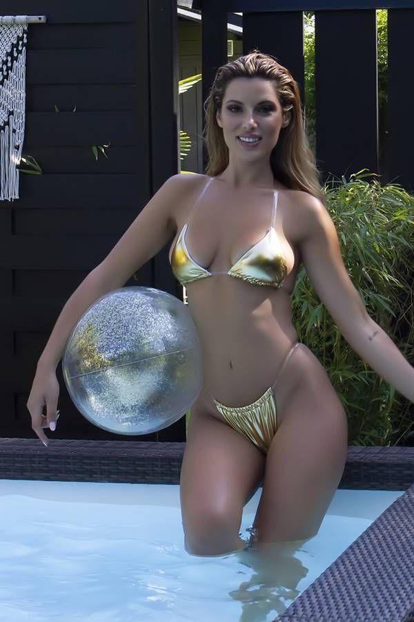 Bikini Swimsuit String Silicone Cords Metallic Gold GTOS19152I2OR