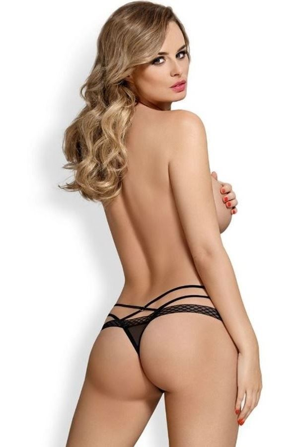THONG BRIEF LINGERIE DOUBLE STRAPS BLACK DRED218267