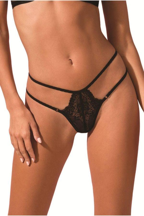 string sexy slip lingerie straps black.