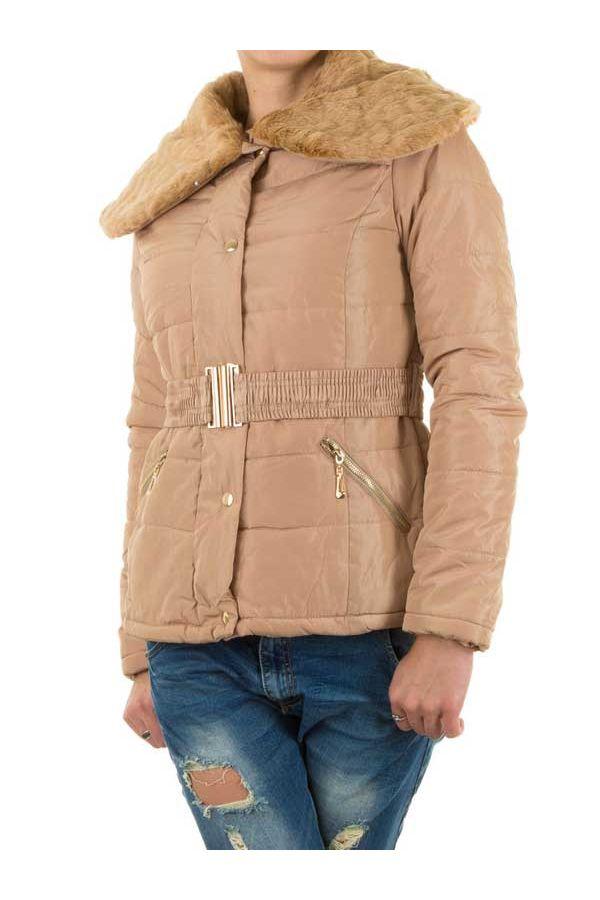 μπουφάν με επένδυση γούνα γιακά ελαστική ζώνη μπεζ