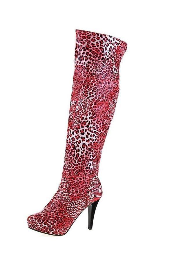 εντυπωσιακή μπότα έως το γόνατο με μαύρο τακούνι λέοπαρ κόκκινη
