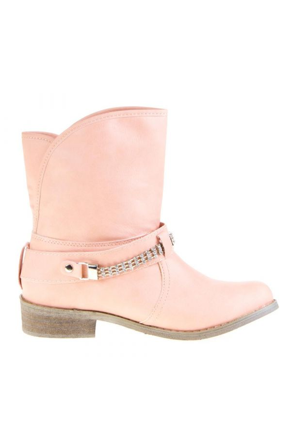 woman ankle boot decorated with silver metallic buckle pink