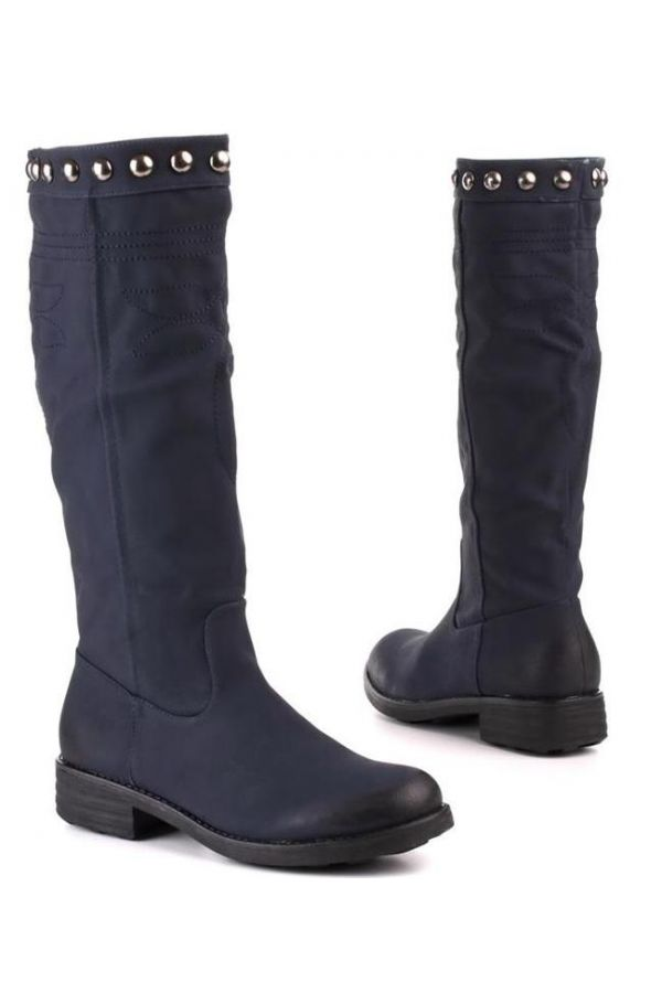 riding boot decorated with metallic buttons black heel blue