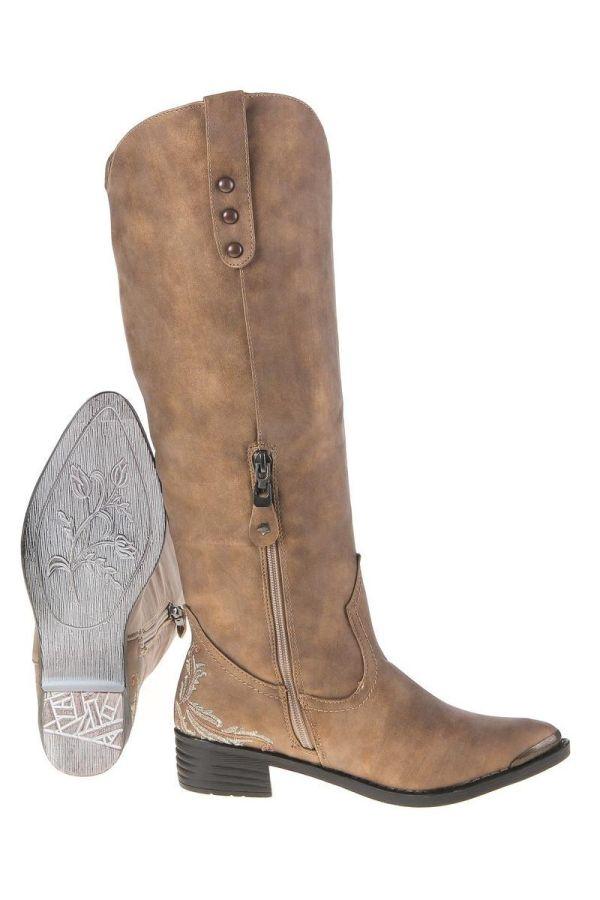 cowboys γυναικεία μπότα ιππασίας διακοσμημένη με κέντημα και μέταλλο μπροστά μπεζ