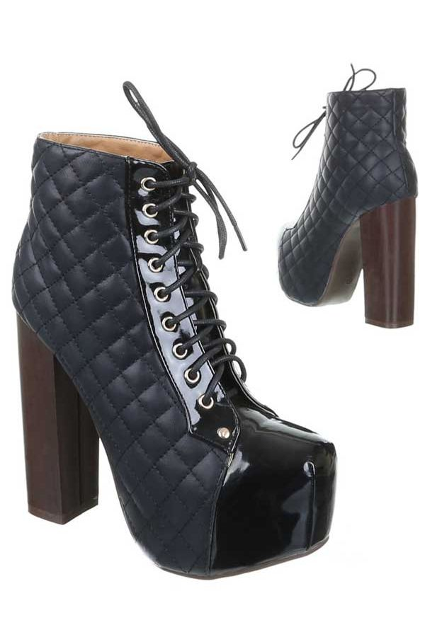 ANKLE BOOTS HIGH HEELS CORDS BLACK SW18962