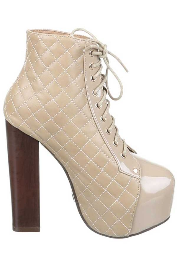 ANKLE BOOTS HIGH HEELS CORDS BEIGE SW18962