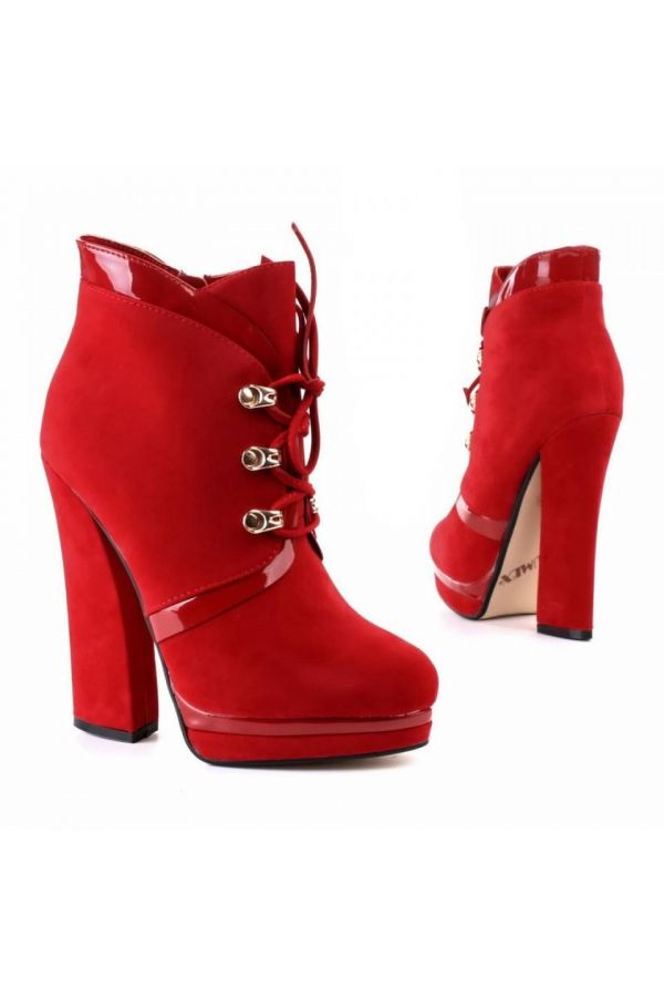 high heels ankle boot with cords and patent panels red