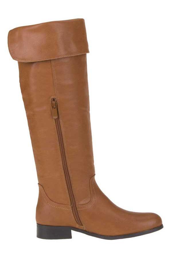 γυναικεία μπότα ιππασίας έως το γόνατο λάστιχο πίσω κάμελ