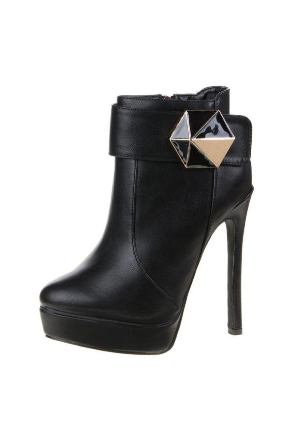 high heels μποτάκι διακοσμημένο με αγράφα μαύρο