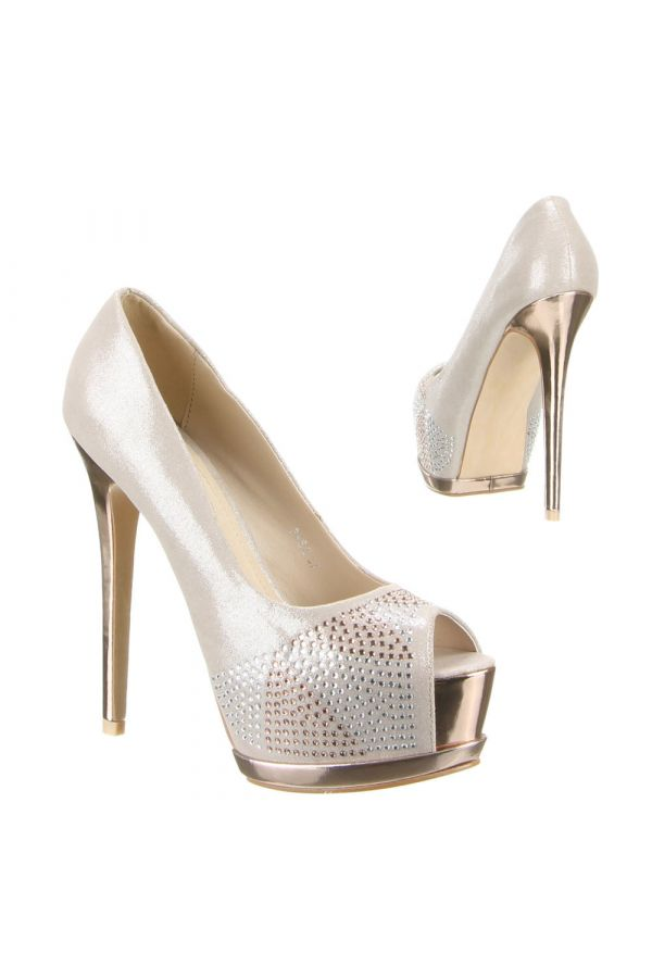 high heels satin bridal peep toe decorated with strass gold platform and gold heel champagne