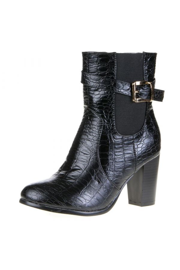ankle boot at snake patern decorated with gold buckle black