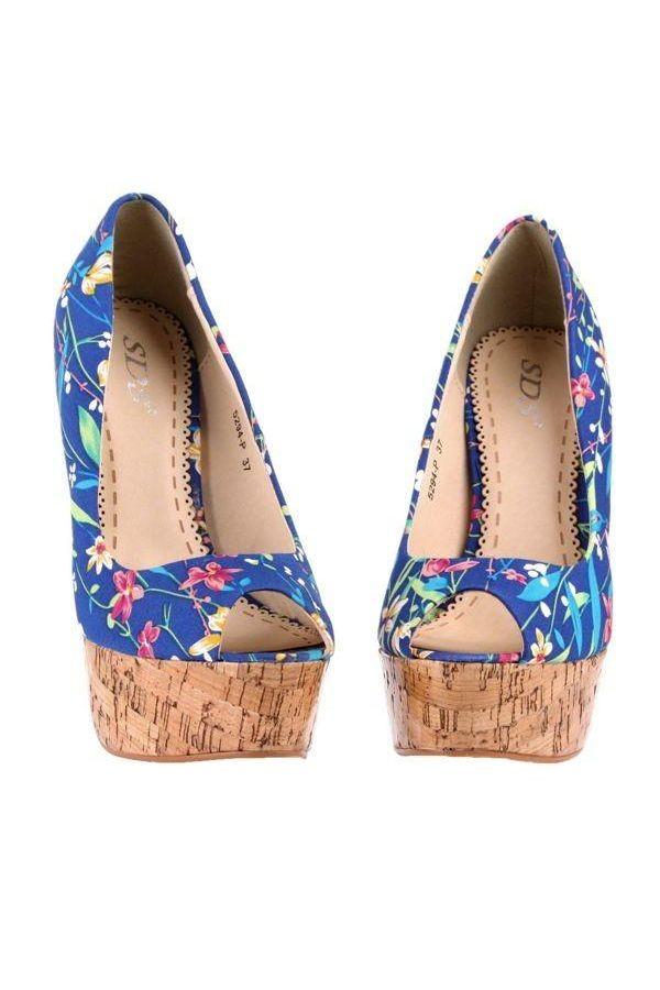 high heel peep toe pump multicolour floral print blue