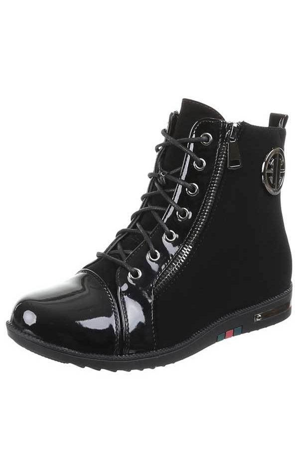 sneaker σπορ με λουστρίνι μαύρο