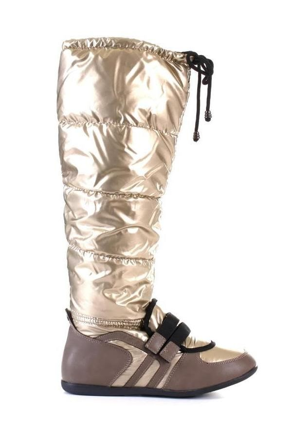 exclusive padded boot with cords flat heel gold beige