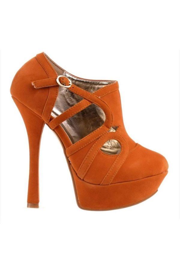 super impressive high heel suede ankle boot with platform orange