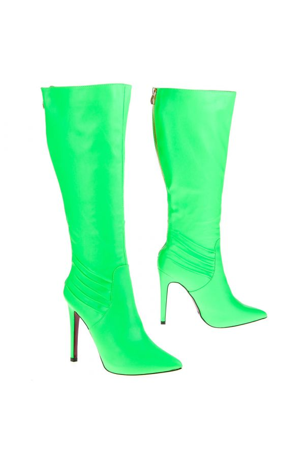 high heel pointed boot with zip back green