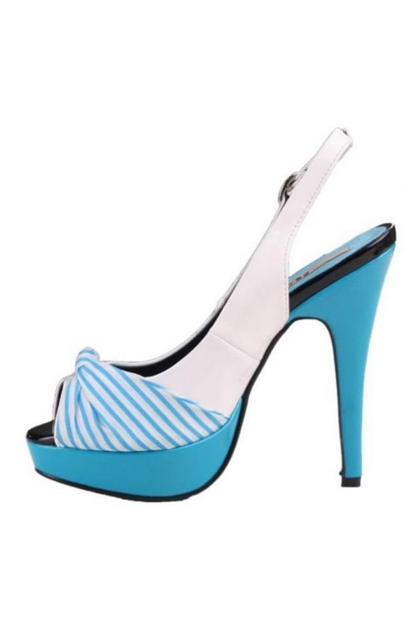 formal patent sandal white blue