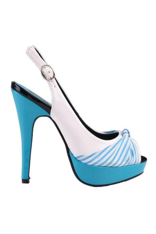αμπιγιέ λουστρίνι γυναικείο πέδιλο άσπρο μπλε