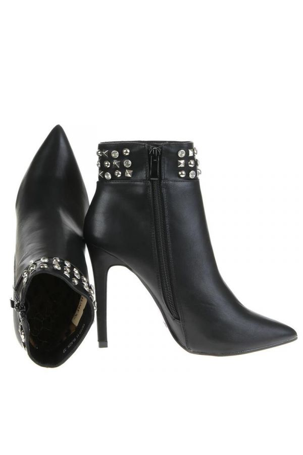 pointed ankle boot with rhinestones black