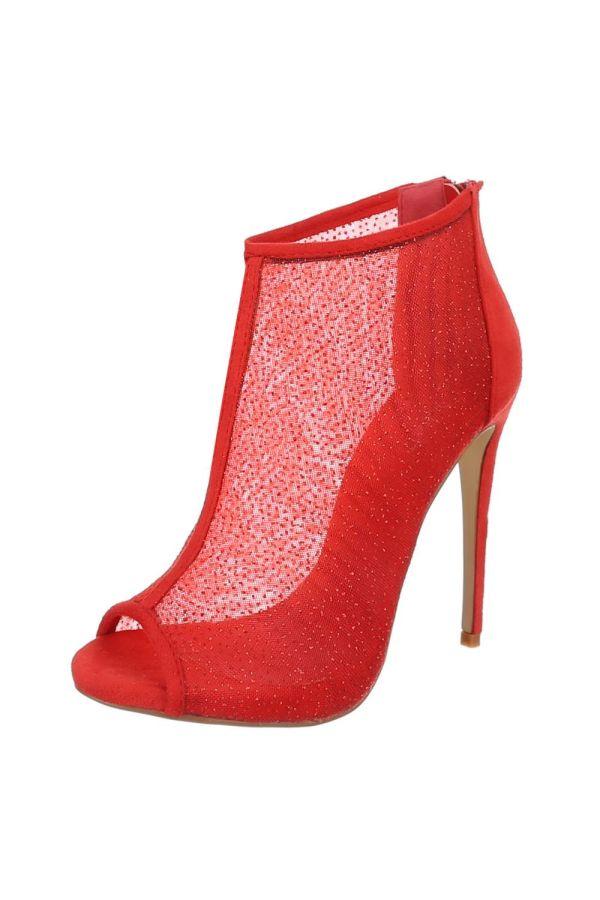 κομψό high heel πέδιλο με διαφάνεια διακοσμημένο με στρας κόκκινο